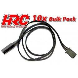HRC9235KB Prolongateur de servo – Mâle/Femelle - UNI (FUT) type - 60cm Long - Noir/Noir/Noir - BULK 10 pces