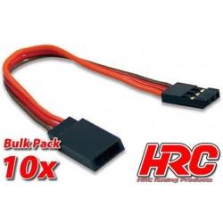 HRC9240B Prolongateur de servo – Mâle/Femelle - JR type - 10cm Long - BULK 10 pces