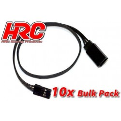 HRC9242KB Prolongateur de servo – Mâle/Femelle - JR type - 30cm Long - Noir/Noir/Noir - BULK 10 pces