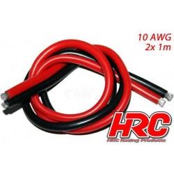 HRC9511B Câble - TSW Pro Racing - 10 Gauge / 5.2mm2 - Argent (1050 x 0.08) - Rouge et Noir (1m chaque)