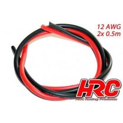 HRC9521 Câble - TSW Pro Racing - 12 Gauge / 3.3mm2 - Argent (680 x 0.08) - Rouge et Noir (0.5m chaque)