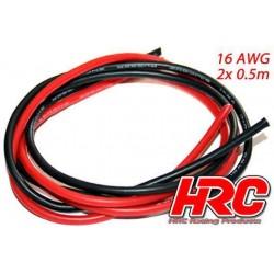 HRC9541 Câble - TSW Pro Racing - 16 Gauge / 1.3mm2 - Argent (252 x 0.08) - Rouge et Noir (0.5m chaque)