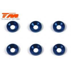 TM111003B Rondelles - coniques - Aluminium - 3mm - Bleu (6 pces)