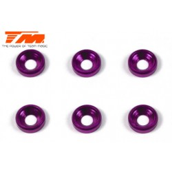TM111003P Rondelles - coniques - Aluminium - 3mm - Purple (6 pces)
