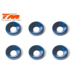 TM111004B Rondelles - coniques - Aluminium - 4mm - Bleu (6 pces)