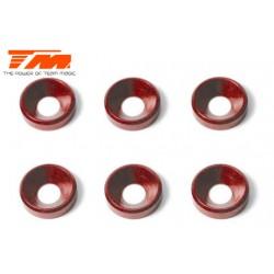 TM111004R Rondelles - coniques - Aluminium - 4mm - Rouge (6 pces)