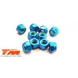 TM111007B Ecrous - M3 nylstop - Aluminium - Bleu (10 pces)