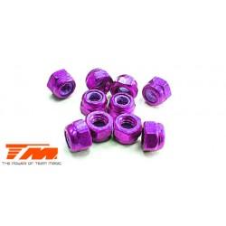 TM111007P Ecrous - M3 nylstop - Aluminium - Purple (10 pces)