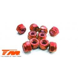TM111007R Ecrous - M3 nylstop - Aluminium - Rouge (10 pces)