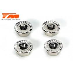 TM111160 Ecrous de roues - M4 strià flasquà - Silver (4 pces)