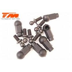 TM115022BK Chapes et Rotules filletàes - M4 - Noir - 6 pces