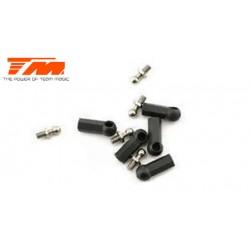 TM115024BK Chapes et Rotules filletàes - Court - Noir - 5 pces