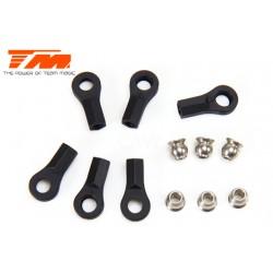 TM115027BK Chapes et Rotules - Noir - 6 Pces