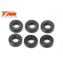 TM116219BK Rondelles - 3 x 6 x 2.00mm Aluminium - Noir (10 pces)