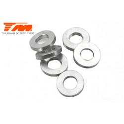 TM130104 Rondelles - 3.6 x 6.35 x 1mm (4 pces) & 3.6 x 6.35 x 2mm Aluminum (2 pces)
