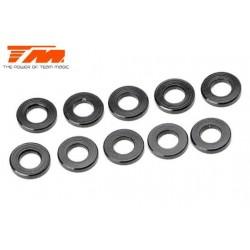 TM130114BK Rondelles - 3 x 6 x 1.00mm Aluminium - Noir (10 pces)