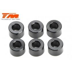 TM130125BK Rondelles - 3 x 6 x 4.00mm Aluminium - Noir (10 pces)