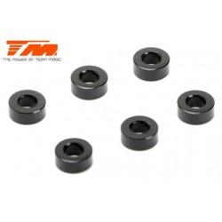 TM130142BK Rondelles - 3 x 6 x 2.50mm Aluminium - Noir (10 pces)
