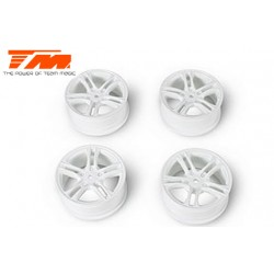TM503315W Jantes - 1/10 Drift - 5 Spoke - 12mm Hex - blanches - Baked Coating (4 pces)