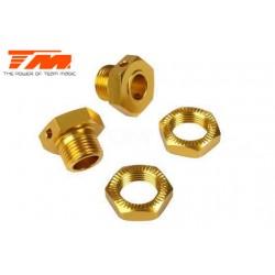 TM505138SGD Pièce Option - E6 Trooper / Trooper II - Aluminium anodisé Gold - Hexagones de roues striés Set (2 pces)