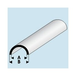403-54 Tube plastique Demi-rond 3.5x 5 mm