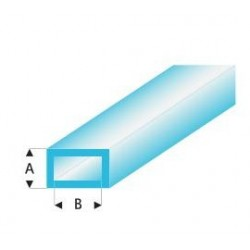 445-55 Tube plast. Rect. Bleu 330x3x6mm