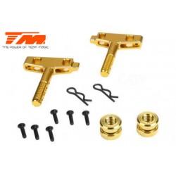 TM505226GD Pièce Option - E6 Trooper / Trooper II / E6 III - Aluminium anodisé Gold - Plaque support d'accu (2 pces)