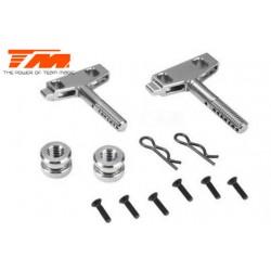 TM505226TI Pièce Option - E6 Trooper / Trooper II / E6 III - Aluminium anodisé Titane - Plaque support d'accu (2 pces)