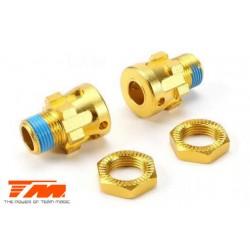 TM505312GD-10 Pièce détachée - E6 III BES - Aluminium anodisé Gold - Hexagones de roues +10mm Set - Splined (2 pces)