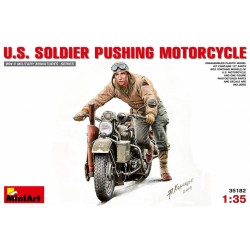 MINIART35182 Soldier Pushing Motorcycle 1/35