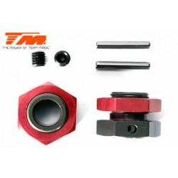 TM560123 Pièce détachée - M8JS/JR - Aluminium 7075 - Hexagone de roue, goupille et écrou (2 pces)