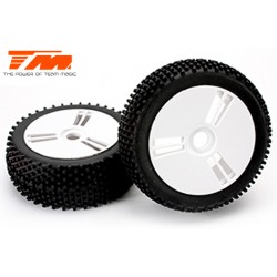TM561416 Pneus - 1/8 Buggy - montés - jantes blanches - 17mm Hex - Medium (2 pces)