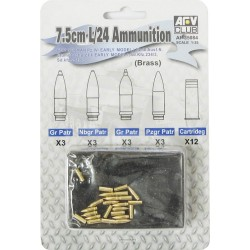 AF35084 AFV 7,5 cm KwK L/24 Ammo(brass)1/35