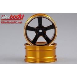 KBD48079BLK Jantes - 1/10 Touring - Scale - 12mm Hex - CNC Aluminium - Camaro 2011 - Noir / Gold (2 pces)