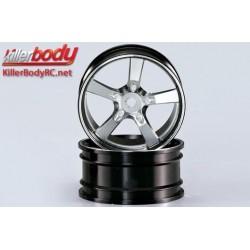 KBD48079SIL Jantes - 1/10 Touring - Scale - 12mm Hex - CNC Aluminium - Camaro 2011 - Silver / Noir (2 pces)