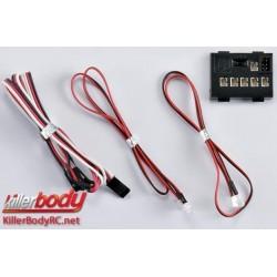 KBD48099 Set d'éclairage - 1/10 TC/Drift - Scale - LED - Système d'éclairage avec Control Box - 4 LEDs (Phare supplémentaire)