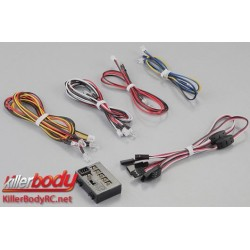 KBD48102 Set d'éclairage - 1/10 TC/Drift - Scale - LED - Système d'éclairage avec Control Box - 12 LEDs