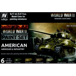 VAL70203 WWII Paint Set American Armour & Infantry (6)
