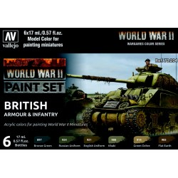 VAL70204 WWII Paint Set British Armour & Infantry (6)