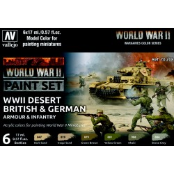 VAL70208 WWII Paint Set British & German Armour & Infantry (6)