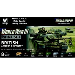 VAL70222 WW III Paint Set British Armour & Infantry (8)