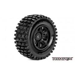 RXR1002-B Pneus - 1/10 Short Course - montés - Jantes noires - 12mm Hex - Tracker (2 pces)