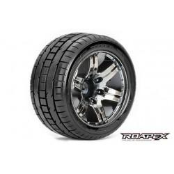 RXR2001-CB0 Pneus - 1/10 Stadium Truck - montés - 0 offset - Jantes noires Chromées - 12mm Hex - Trigger (2 pces)
