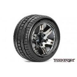 RXR2001-CB2 Pneus - 1/10 Stadium Truck - montés - 1/2 offset - Jantes noires Chromées - 12mm Hex - Trigger (2 pces)