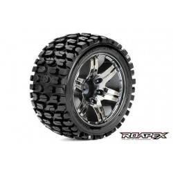 RXR2002-CB0 Pneus - 1/10 Stadium Truck - montés - 0 offset - Jantes noires Chromées - 12mm Hex - Tracker (2 pces)