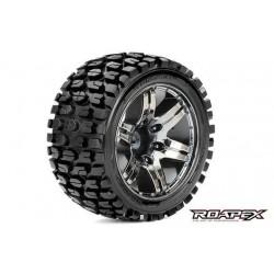 RXR2002-CB2 Pneus - 1/10 Stadium Truck - montés - 1/2 offset - Jantes noires Chromées - 12mm Hex - Tracker (2 pces)