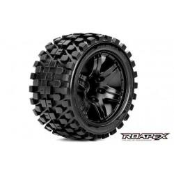 RXR2003-B0 Pneus - 1/10 Stadium Truck - montés - 0 offset - Jantes noires - 12mm Hex - Rhythm (2 pces)