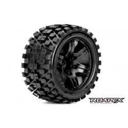 RXR2003-B2 Pneus - 1/10 Stadium Truck - montés - 1/2 offset - Jantes noires - 12mm Hex - Rhythm (2 pces)