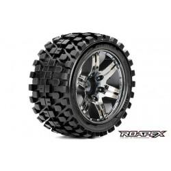 RXR2003-CB2 Pneus - 1/10 Stadium Truck - montés - 1/2 offset - Jantes noires Chromées - 12mm Hex - Rhythm (2 pces)
