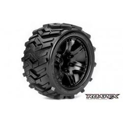 RXR2004-B0 Pneus - 1/10 Stadium Truck - montés - 0 offset - Jantes noires - 12mm Hex - Morph (2 pces)